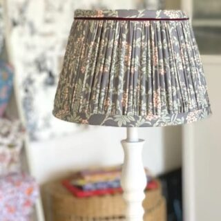 Another stunning gathered lampshade handmade beautifully by Amanda, @amanda_wells_design who has recently completed a 5 day lampshade making masterclass with us here in Brighton.   I particularly love the cool bluish grey fabric with the subtle peach and pale green details which gives this lampshade a balanced, sophisticated and relaxing look. ❤️  #lampshades #lampshademakingworkshops  #lampshademaker #lampshadedesign #lampshademaking #lampshadeworkshop  #gatheredlampshade #lampshademakingschool #lampshademakingacademy #pleatedlamoshades #tailoredlampshades #traditionallampshades #making lampshades #sewinglampshades #lampshademaking craft #traditionalcrafts #howtomakelampshades #lampshademakingbusiness #mojisalehi #mojidesigns #studiovibes #madeinuk